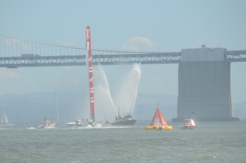 A San Francisco Fire Department boat celebrates the final race of the Louis Vuitton Cup