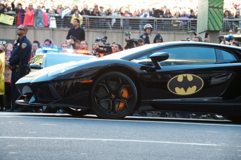 Two Lamborghinis with Batman logos were used as Batmobiles for Miles' big day.