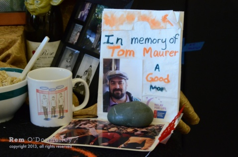 A Day of the Dead altar for Tom Maurer. His Star Trek coffee mug graced his altar.