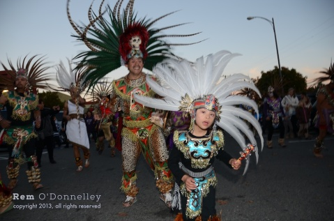The youngest member of the Mixcoalt Aztec Dancers delighted crowds in San Rafael.