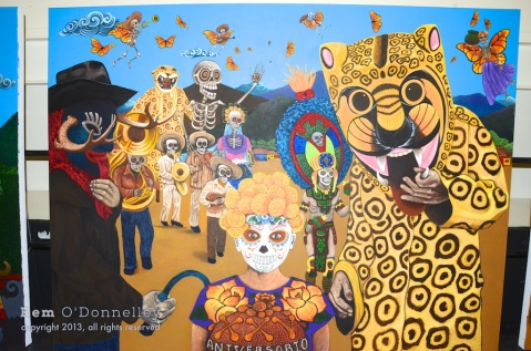 Murals depicted different Dia De Los Muertos aspects from a selection of countries.
