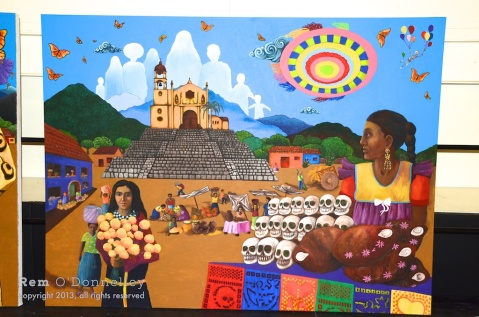One of the colorful murals commemorating 25 years of Dia De Los Muertos being held in San Rafael
