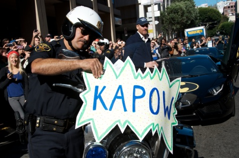 Even San Francisco police officers showed their spirit for Miles' Batkid wish
