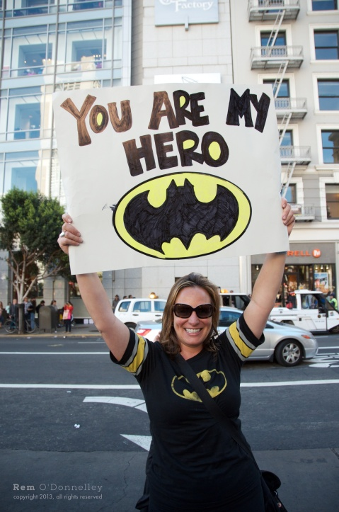 Juliet Ferriot stood in Union Square all smiles for Miles as Batkid