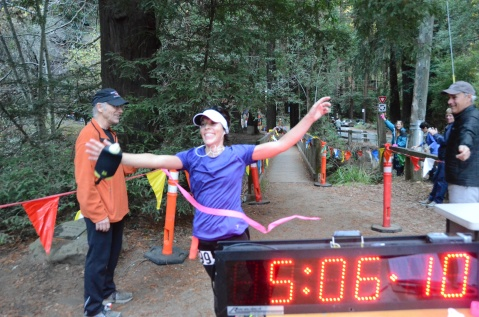 Ariane Buser of Sausalio finishes first place in the women's category of the Quad Dipsea. This was the first Quad Dipsea for the winner, she usually participates in Ironman Triathlons.