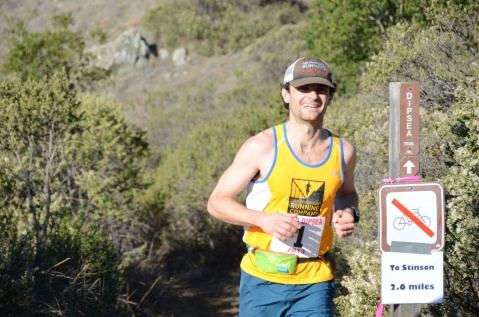 Brett Rivers reaches Cardiac Hill during the 28 mile 2013 Quad Dipsea. Rivers won the 2012 Quad Dipsea.