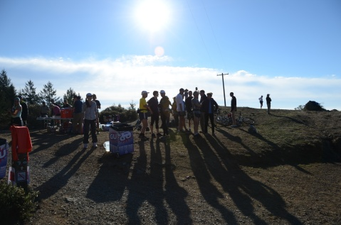 Volunteers wait for runners at Cardiac Hill, the highest point of the 28 mile Quad Dipsea ultra marathon.