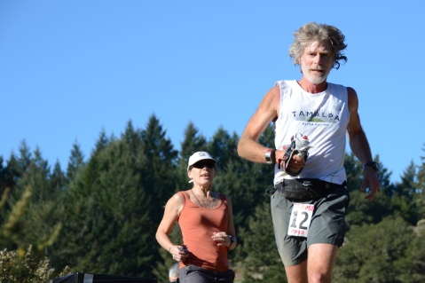 Mark Richtman leaves Cardiac Hill and heads down back to Old Mill Park in Mill Valley during the 2013 Quad Dipsea.